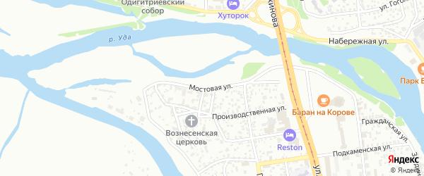 Мостовая улица на карте Улан-Удэ с номерами домов