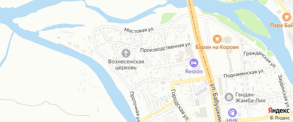 Производственный переулок на карте Улан-Удэ с номерами домов