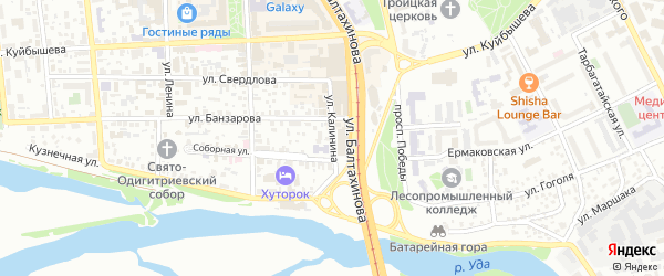 Улица Калинина на карте Улан-Удэ с номерами домов