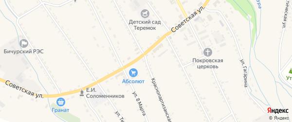 Краснопартизанская улица на карте села Бичура с номерами домов