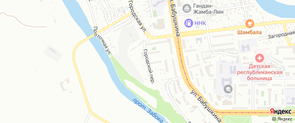 Городской переулок на карте Улан-Удэ с номерами домов
