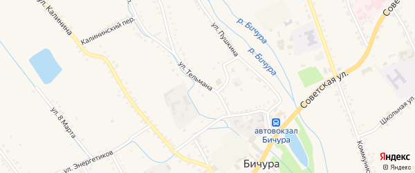 Улица Тельмана на карте села Бичура с номерами домов