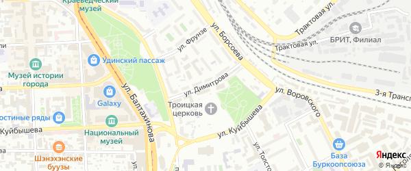 Улица Димитрова на карте Улан-Удэ с номерами домов