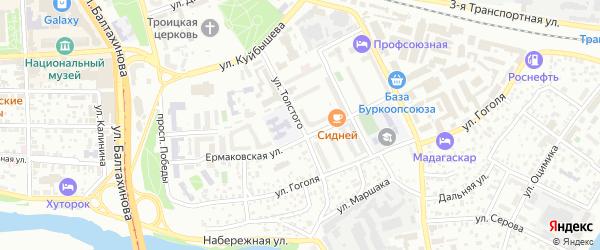 Улица Толстого на карте Улан-Удэ с номерами домов