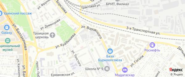 Переулок Толстого на карте Улан-Удэ с номерами домов