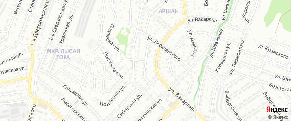 Подлесный переулок на карте Улан-Удэ с номерами домов