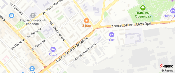 Проспект 50-летия Октября на карте Улан-Удэ с номерами домов
