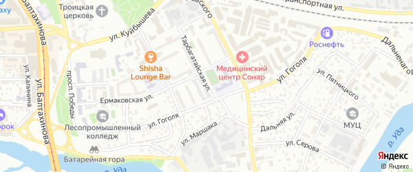 Тарбагатайская улица на карте Улан-Удэ с номерами домов
