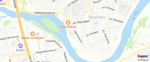 Удинская улица на карте Улан-Удэ с номерами домов