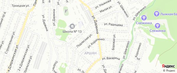 Подлесная улица на карте Улан-Удэ с номерами домов