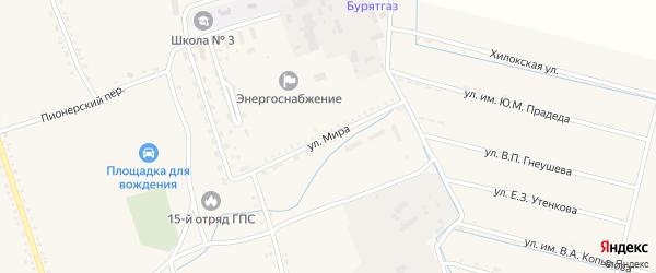 Улица Мира на карте села Бичура с номерами домов
