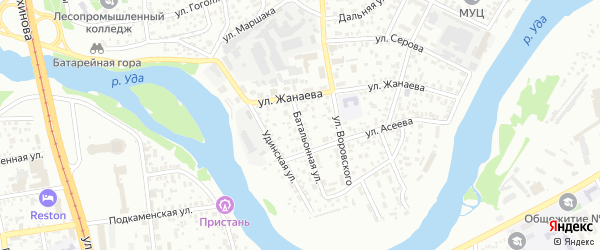 Батальонная улица на карте Улан-Удэ с номерами домов