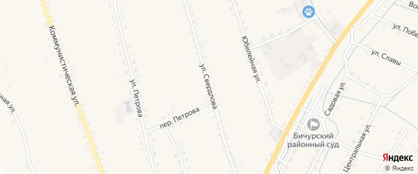 Улица Свердлова на карте села Бичура с номерами домов