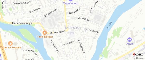 Улица Жанаева на карте Улан-Удэ с номерами домов