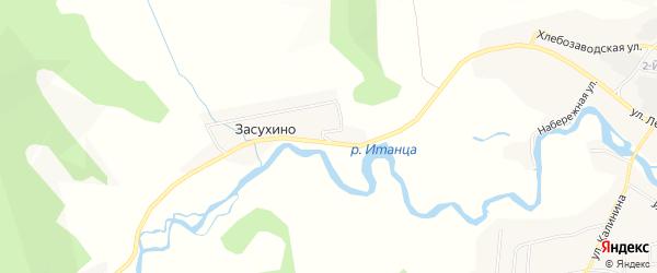 Карта села Засухино в Бурятии с улицами и номерами домов