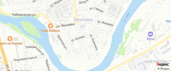 Улица Асеева на карте Улан-Удэ с номерами домов