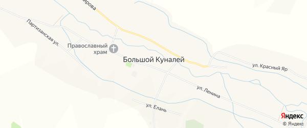 Карта села Большого Куналея в Бурятии с улицами и номерами домов