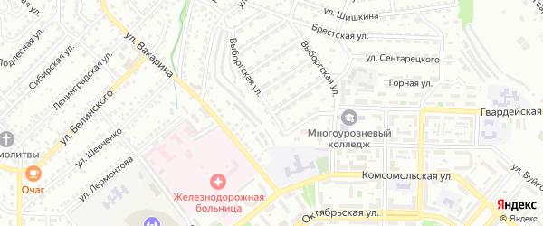 Выборгская улица на карте Улан-Удэ с номерами домов