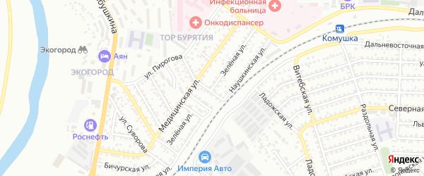 Зеленая улица на карте Улан-Удэ с номерами домов