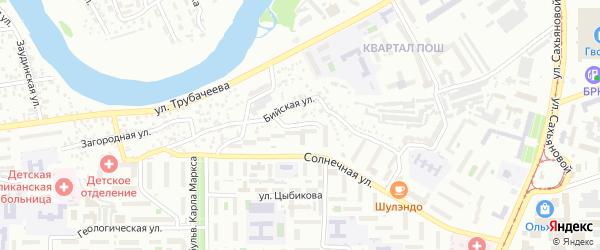 Бийский переулок на карте Улан-Удэ с номерами домов