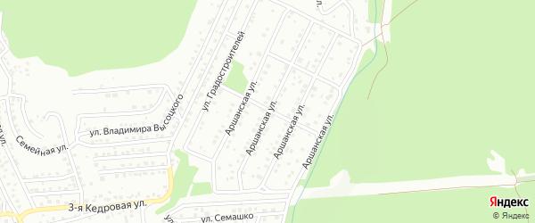 Аршанская улица на карте территории ДНТ Аршана с номерами домов