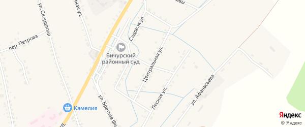 Центральная улица на карте села Бичура с номерами домов