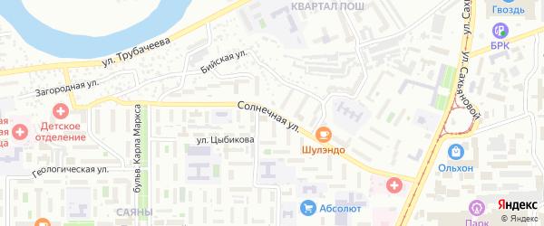 Солнечная улица на карте территории СНТ Зенита с номерами домов