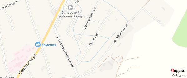Лесная улица на карте села Бичура с номерами домов