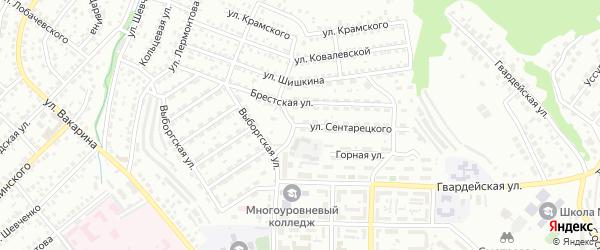 Улица Сентарецкого на карте Улан-Удэ с номерами домов