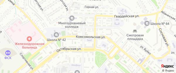 Комсомольская улица на карте Улан-Удэ с номерами домов