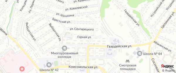 Горная улица на карте Улан-Удэ с номерами домов