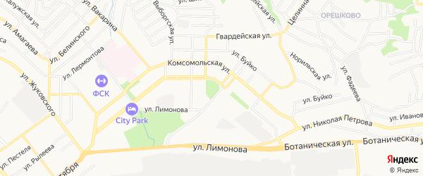 Карта территории СНТ Радуги города Улан-Удэ в Бурятии с улицами и номерами домов