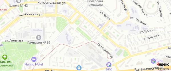 Октябрьская улица на карте Улан-Удэ с номерами домов