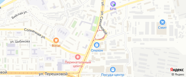 Улица Сахьяновой на карте Улан-Удэ с номерами домов