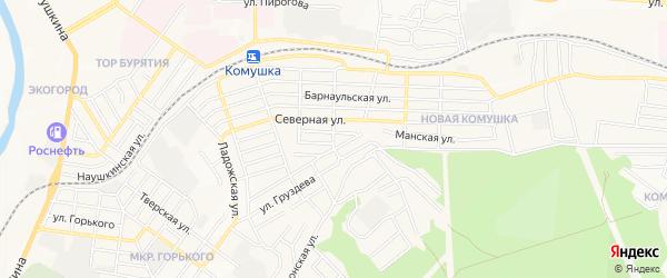 Карта поселка Новой Комушки города Улан-Удэ в Бурятии с улицами и номерами домов