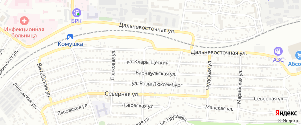 Улица Клары Цеткин на карте Улан-Удэ с номерами домов