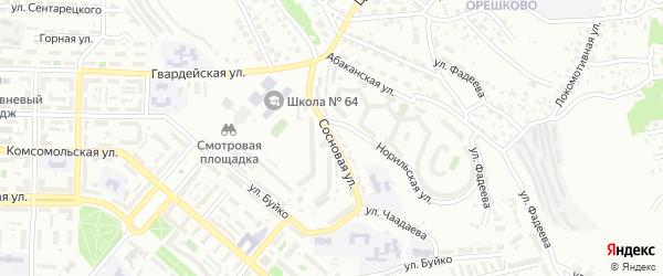 Сосновая улица на карте Улан-Удэ с номерами домов