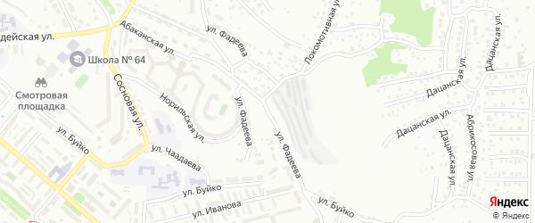 Улица Фадеева на карте Улан-Удэ с номерами домов