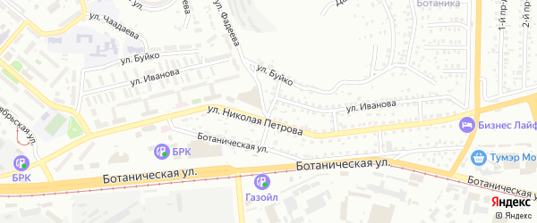 Дачный переулок на карте Улан-Удэ с номерами домов