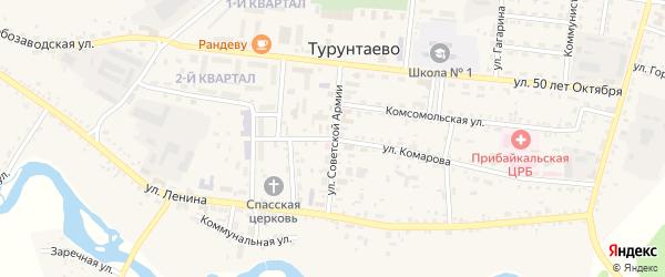 Улица Советской Армии на карте села Турунтаево с номерами домов