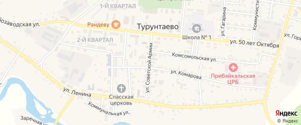 Переулок Бородино на карте села Турунтаево с номерами домов
