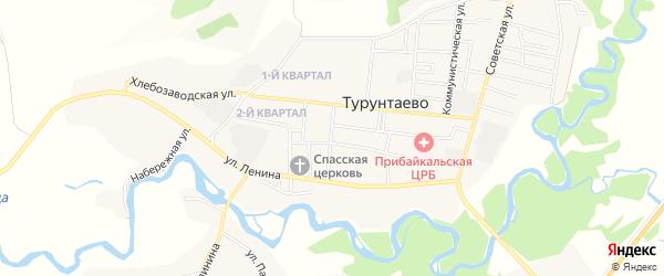 Заречный микрорайон на карте села Турунтаево с номерами домов
