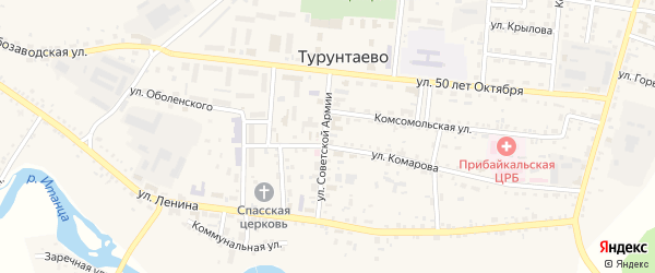 Солнечный микрорайон на карте села Турунтаево с номерами домов