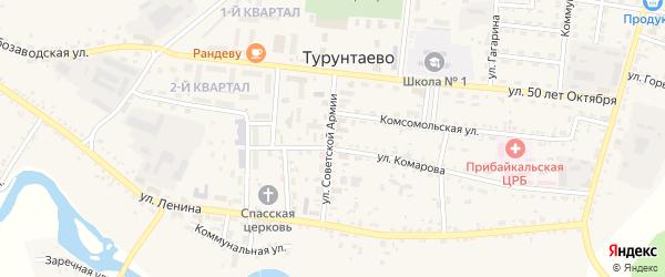 Дорожный переулок на карте села Турунтаево с номерами домов