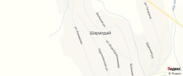 Карта села Шаралдая в Бурятии с улицами и номерами домов