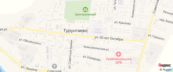 Улица 50 лет Октября на карте села Турунтаево с номерами домов