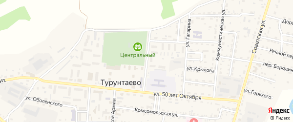 Спортивная улица на карте села Турунтаево с номерами домов