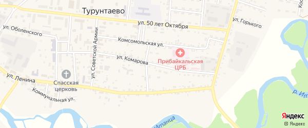 Улица Комарова на карте села Турунтаево с номерами домов