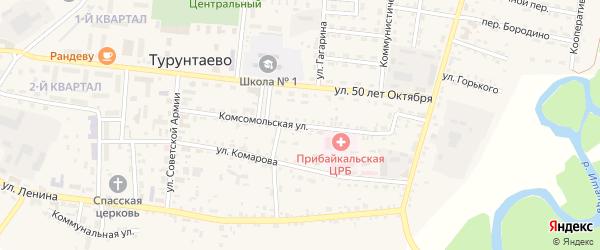 Комсомольская улица на карте села Турунтаево с номерами домов