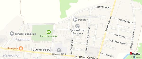 Юбилейная улица на карте села Турунтаево с номерами домов
